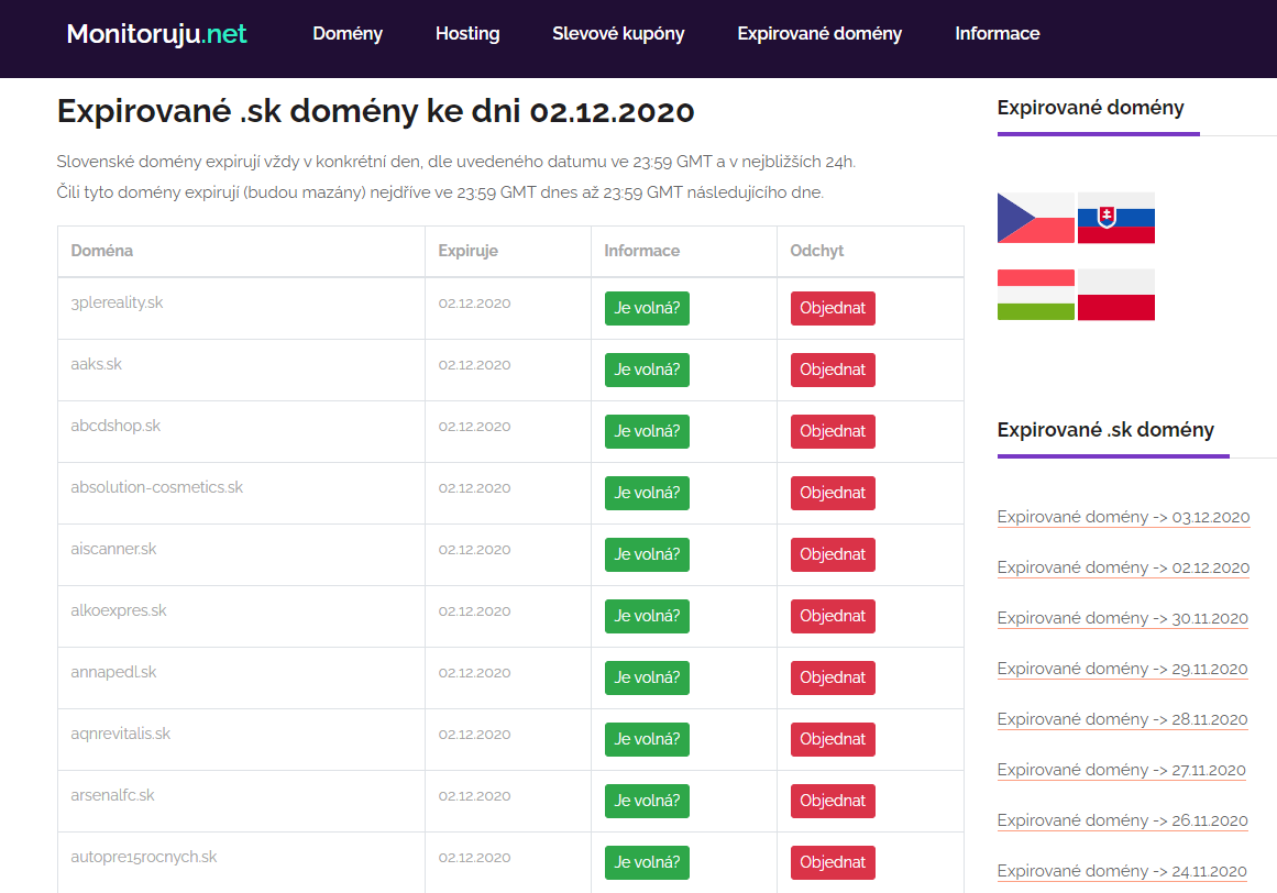 Exspirované .sk domény na monitoruju.net